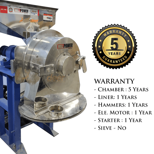 Double Stage Pulverizer SS Warranty