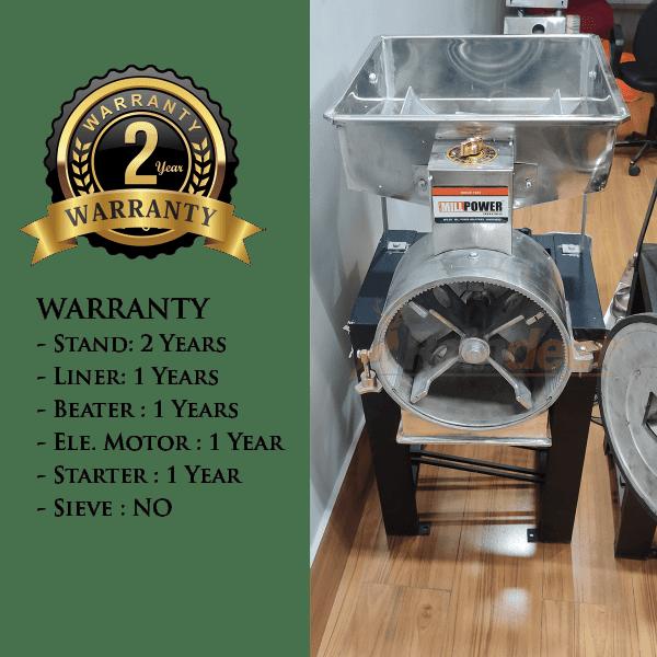 2 in 1 Flour Mill Machine warranty