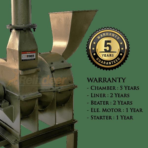5yrs warranty on impact pulverizer plus MS