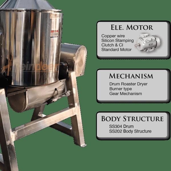 roasting and drying machine mechanism