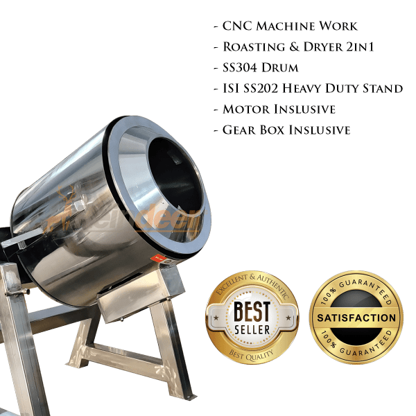 roasting and drying machine specifications