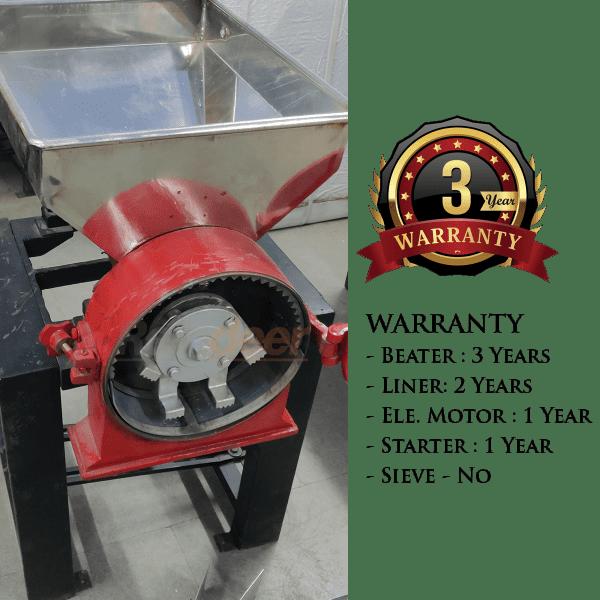 ss hammer pulverizer warranty