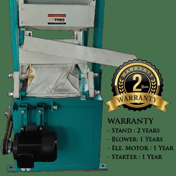 warranty of dust cleaner and destoner machine